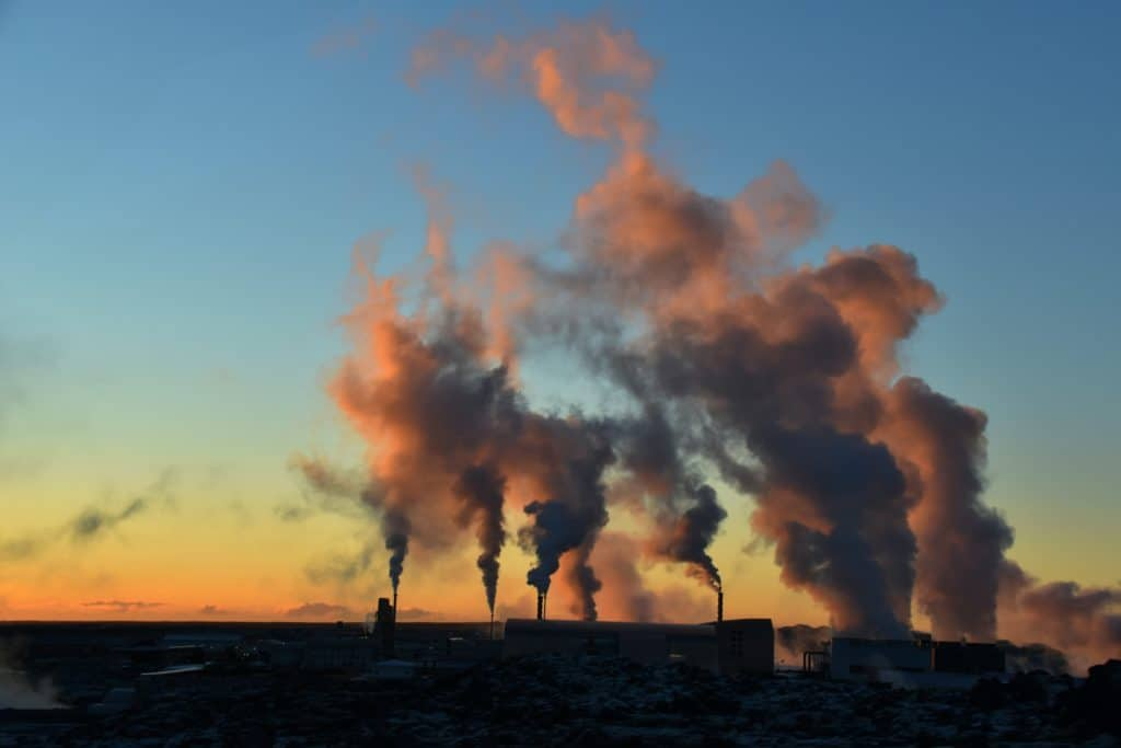 geothermal pumps during sunset