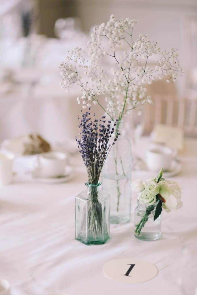 shallow focus photography of flowers in clear glass vases